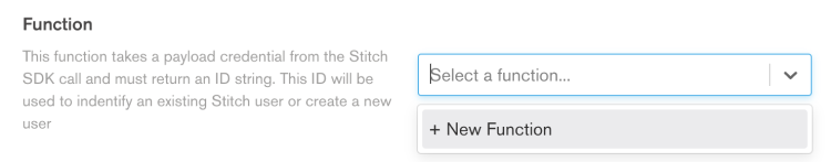 The function selection dropdown in the Stitch UI.